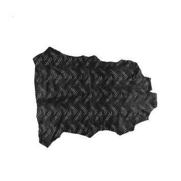 Small Black Abstract Perforated Lamb Leather