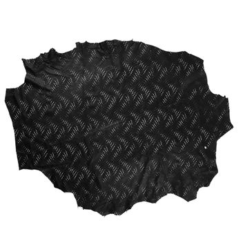 Medium Black Abstract Perforated Lamb Leather