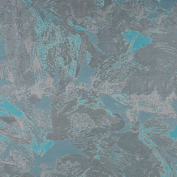 Metallic Silver/Aqua Abstract Jacquard/Brocade
