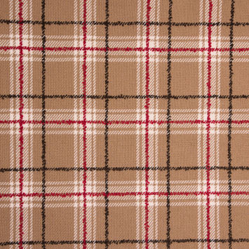 Red/Beige Plaid Wool Twill and Solid Felt Double Cloth
