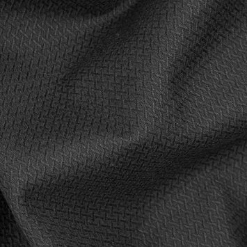 Black Textural Stretch Cotton Woven