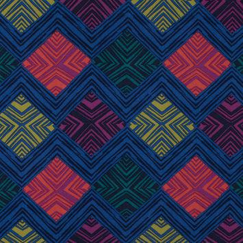 Amparo Blue/Multi-Colored Abstract Geometric Printed Viscose Crepe