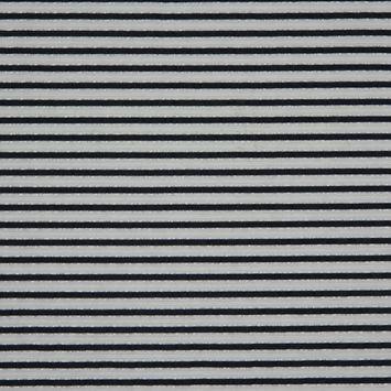 Metallic Bright White/Blue Nights Striped Polyester Blended Seersucker