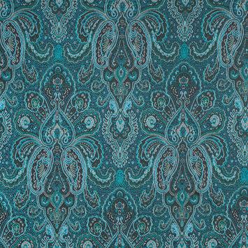 Radiant Green and Sea Blue Paisley Damask Jacquard