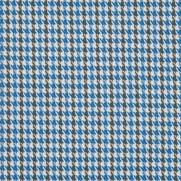 Famous NYC Designer Palace Blue/White/Cub Brown Striped Houndstooth Cotton Twill