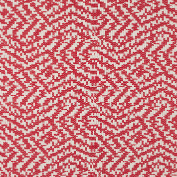 Ivory/Fiery Red Abstract Cotton Brocade