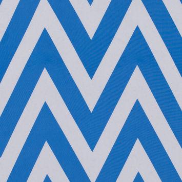 Azure Blue/White Zig Zag Printed Polyester Crepe de Chine