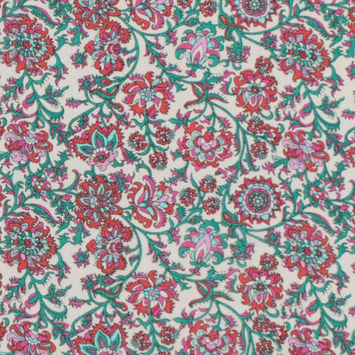 Beige/Pink/Green Gauzy Floral Polyester Panel