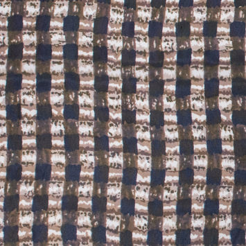 Brown/Olive/Navy Abstract Gingham Polyester Chiffon