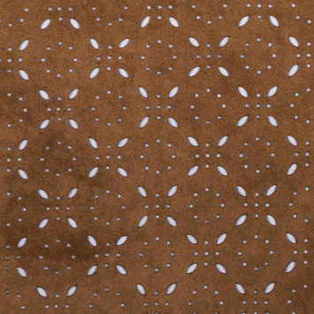 Italian Brown Perforated Faux Suede