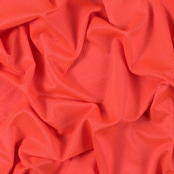 Luminous Neon Orange Stretch Knit Piqued Jacquard