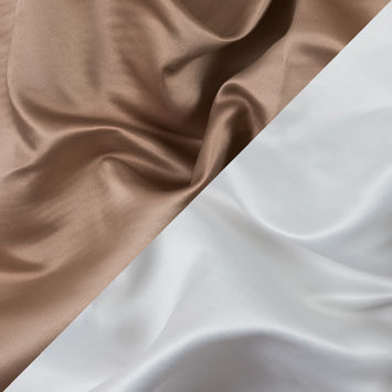 Tan and White Two-Tone Double Duchesse Satin