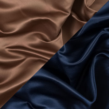 Navy and Brown Sugar Two-Tone Double Duchesse Satin