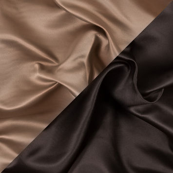 Brown and Tan Two-Tone Double Duchesse Satin