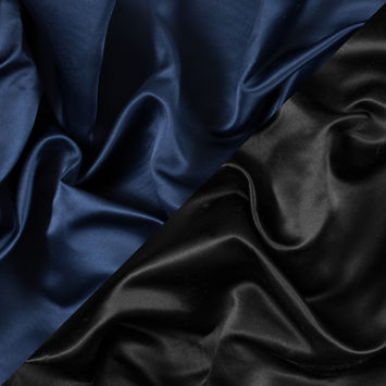 Navy and Black Two-Tone Double Duchesse Satin