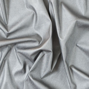 Italian Silver Faux Leather with White Knit Backing