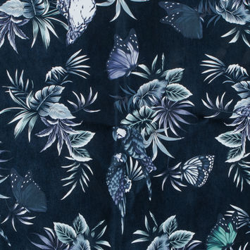 Total Eclipse Floral Printed Faux Leather with a Beige Faux Suede Backing