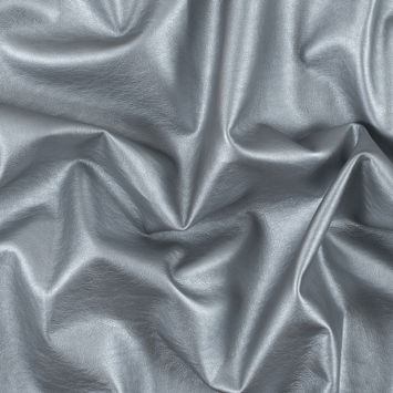 Metallic Silver Stretch Faux Leather with a Elm Fabric Backing
