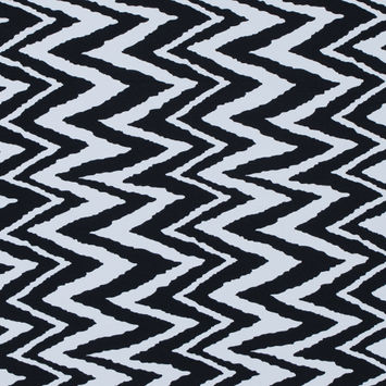 Black and White Zig Zag Printed Polyester Spandex