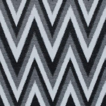 Italian Black, Gray and White Zig Zag Brushed Woven