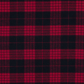 Lollipop and Black Tartan Plaid Cotton Flannel