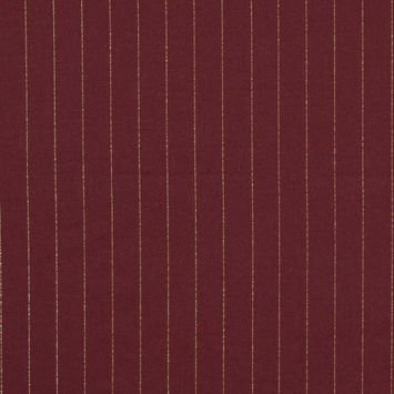 Rosewood Cotton Lawn with Metallic Gold Pinstripes