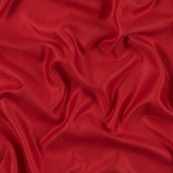 Fiery Red Viscose Batiste with a Woven Off Kilter Chevron Design