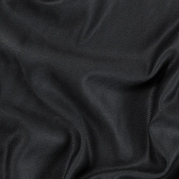 Black Viscose Batiste with a Woven Off Kilter Chevron Design
