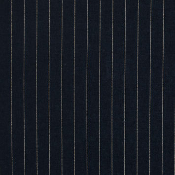 Navy Cotton Lawn with Metallic Gold Pinstripes