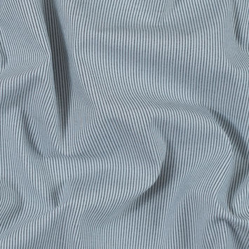 Black, White and Baby Blue Pinstriped Stretch Shirting