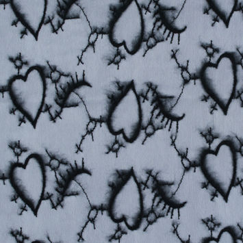White Stretch Mesh with Black Embroidered Flocked Hearts