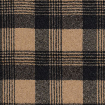 Italian Camel and Black Plaid Brushed Wool Twill