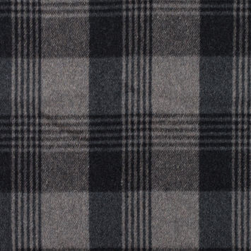 Italian Gray Plaid Brushed Wool Twill