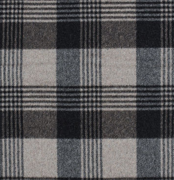 Italian Dust Gray and Navy Plaid Brushed Wool Twill