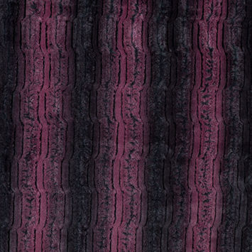 Famous NYC Designer Red Plum and Black Striped Faux Fur