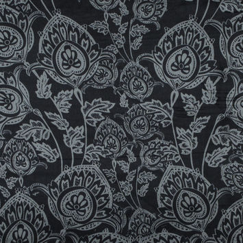 Black and Neutral Gray Floral Printed Silk Charmeuse