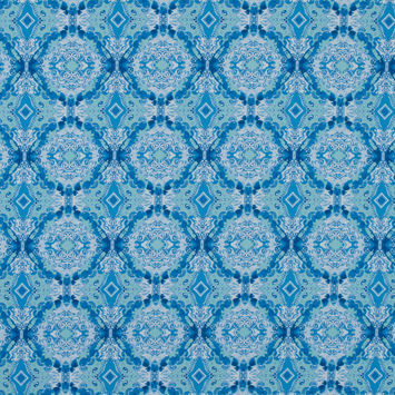 Blue Kaleidoscopic Medallion Stretch Cotton Sateen