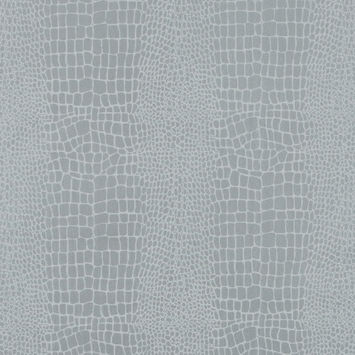 Silver Crocodile Foiled Stretch Polyester Twill