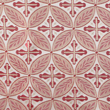 Red and Metallic Gold Medallion Jacquard