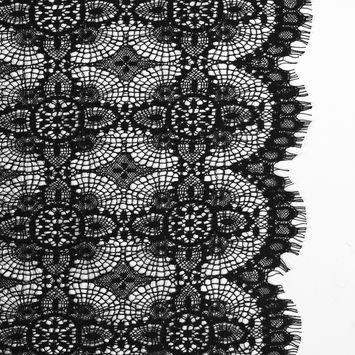 Black Cluny Lace with Scalloped Eyelash Edges