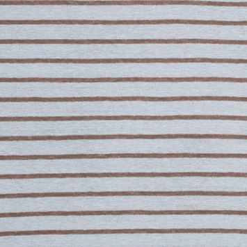 Italian Light Brown and White Pencil Striped Linen Knit