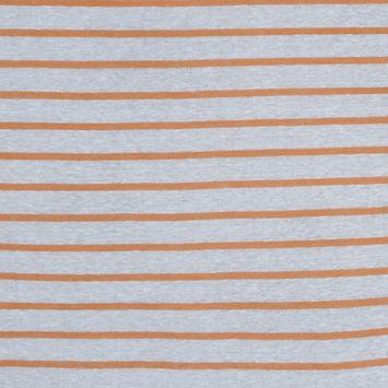 Italian Orange and White Pencil Striped Linen Knit