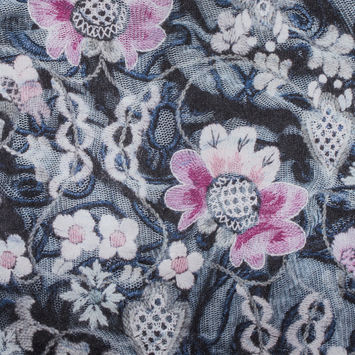 Italian Pink Floral Digitally Printed Polyester Charmeuse