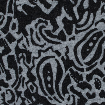Italian Gray and Black Abstract Wool Knit with Metallic Glimmer