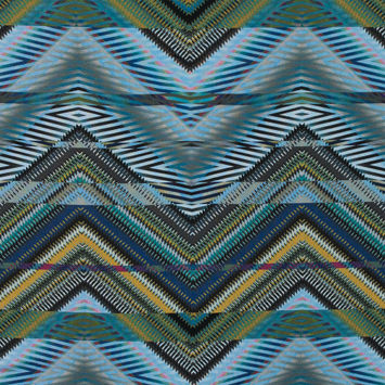 Italian Green and Blue Zig Zag Tribal Printed Jersey