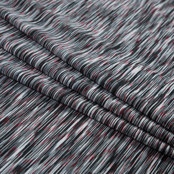 Molten Black Striated Wicking and Anti-Microbial Performance Jersey