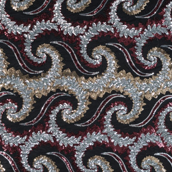 Red, Silver and Gold Paisley Sequined Netting in Black