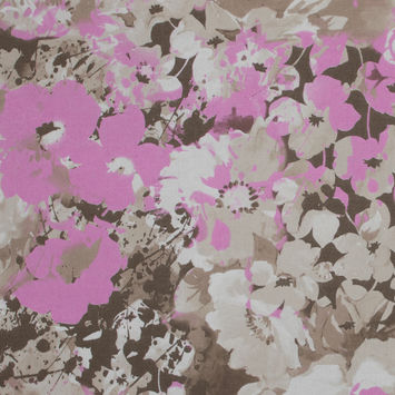 Italian Beige and Orchid Floral Cotton Batiste