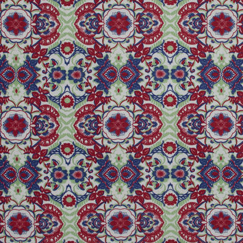 Italian Red and Green Floral Cotton Batiste