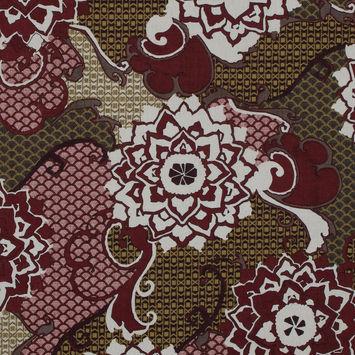 Italian Garnet Red Floral Cotton Batiste